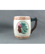 Vintage Indian Theme Coffee Mug -- Hand Painted by Shafford - Interestin... - $31.00
