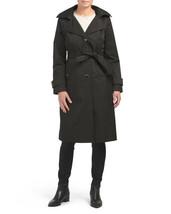 NEW ANNE KLEIN BEIGE KHAKI BLACK BELTED HOOD LONG TRENCH COAT SIZE L SIZ... - $89.99+