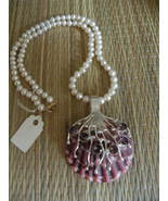 Handmade Seashell Necklace Jewelry..Amethyst &... - £46.14 GBP