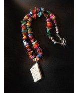 Multi color shell & stone white turquoise necklace  - $22.00