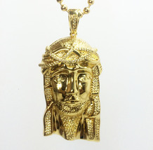 "14K Gold Jesus Piece Pendant AAA Lab Diamond With 30"" Ball Chain Necklace - $39.99"