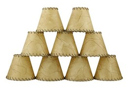 Urbanest Chandelier Lamp Shades 6-inch, Hardback, Faux Leather, Laced Trim, Clip - $56.40