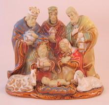 Nativity Scene Ceramic Holy Family Wise Men Sheep - $31.18