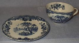 Vintage Japan Blue Normandy Cup and Saucer - $24.00