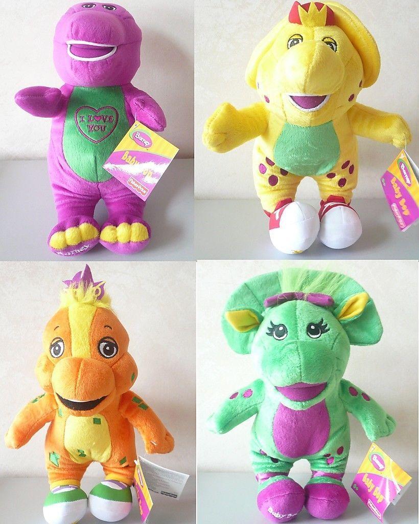"13""Tall Barney Singing Fisher-Price Plush Doll, BJ, Riff & Baby Bop 4pcs set toy"