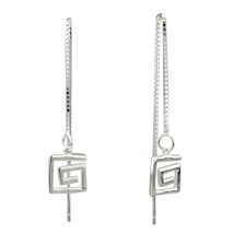 Pugster Silver Linellae Fancy Double Square Sterling Earrings 925 Dangle - £13.01 GBP