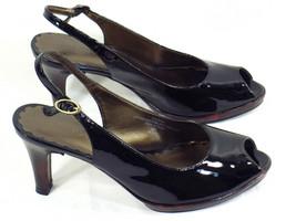 Liz Claiborne Black Patent Leather Peep Toe High Heels 6 M US Excellent - $10.84