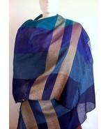Blue weaved shawl, scarf of Babyalpaca wool and Silk - $115.90