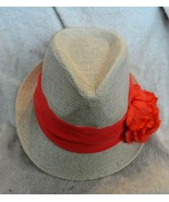 Women Lady light Natural straw look Fedora  Hat with orange band and flower - $14.50