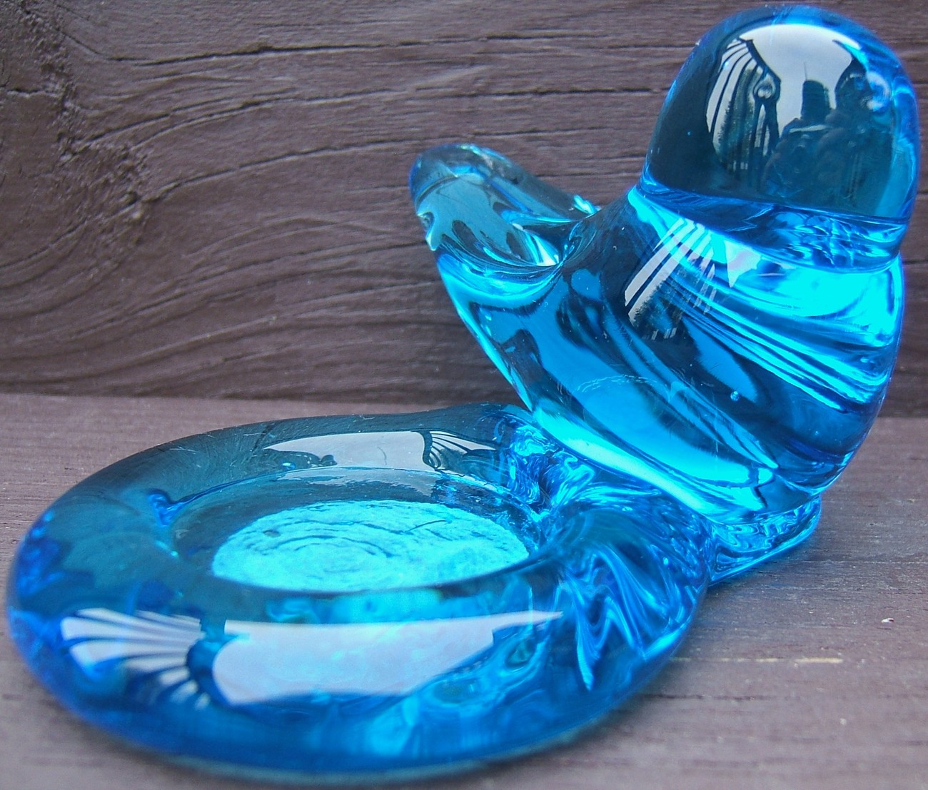 SUNNY DAY BLUEBIRD Art Glass VOTIVE CANDLE HOLDER Ron Ray 1998 ORIGINAL LABEL