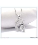 "Owl On The Moon Pendant Necklace WGP Crystal Rhinestones 15.5"" + Fashion... - $15.83"