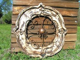 Round House Pediment Architectural Iron-Wood-Hand Painted Medallion 0348 bz - $124.98