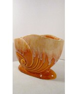 Nautilus Shell Vase, Old Glazed Pottery, Spiral... - $14.95