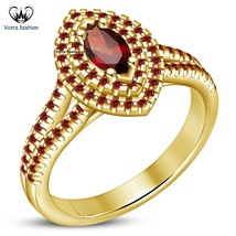 Marquise Shape Red Garnet 14k Yellow Gold Plated 925 Silver Women's Wedding Ring - $72.99