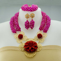 African wedding jewelry set in hot pink, fashion design bridal jewelry set  - $75.99+