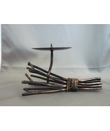 "METAL TWIG CANDLE HOLDER for Pillar / Ball Candles 7 1/2"" Rustic Branche... - $6.99"