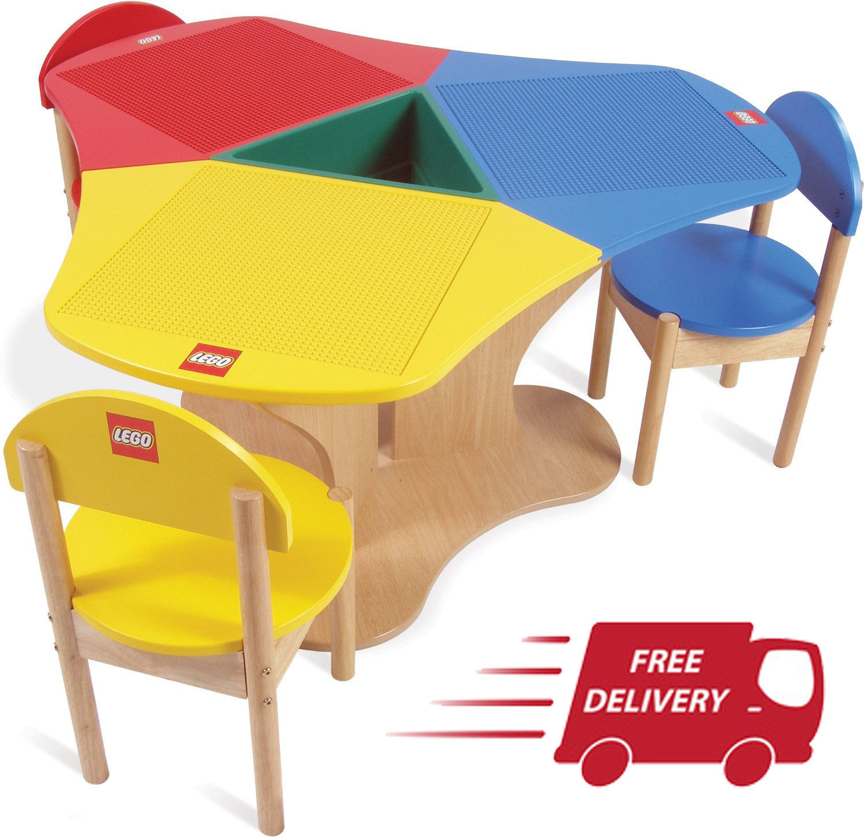 Kids Table Chairs Set Building Blocks Preschool Wooden