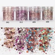 Gam-Belle® 10ml Nail Art Colorful Mixed Glitter Powder Hexagon Shape Man... - $3.34
