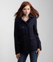 Aeropostale Womens Navy Red Lined Hooded Peacoat Pea Coat Winter Jacket ... - $59.99