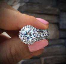 2Ct Round Cut VVS1 Diamond Halo Engagement Ring 10k White Gold Plated 92... - $79.53