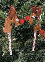 Candy Cane Cover Felt Reindeer Christmas Ornaments x2 - $8.99
