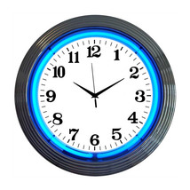 An item in the Home & Garden category: Neonetics Chrome blue standard neon clock