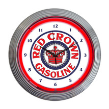 Neonetics Red crown gasoline neon clock - $78.54