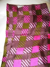 "Vintage Echo pink green stripe plaid silk scarf 31"" sq.  Japan signed - $21.87"