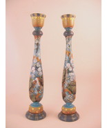Wood Candlestick Holders Pair Sconces Handpainted Floral Motif - $40.09
