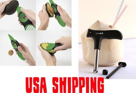 Avocado Tool + Coconut Opener -USA Shipping Knife Pitter Cutter Peeler S... - $10.88