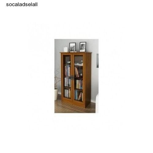 bookcase with glass doors storage cabinet cherry vintage