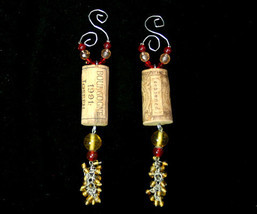 Pair of Handcrafted Wine Cork Christmas Ornament with Burgundy & Gold Beads - $16.98