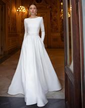 Simple Long Sleeve Solid Satin with Lace Beading Princess A-Line Wedding Dress image 2
