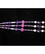 Handcrafted Purple Beaded Plant Basket Pot Hanger #6 for Patio - $17.98