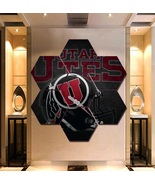 Utah Utes Football Poster Decor Hexagon 7 Panels Wall Art Painting Canva... - $94.99+