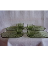 Hazel Atlas Pebblestone Green Watermelon Snack Set Teardrop Set of 4 - $56.00