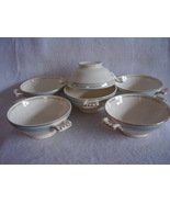 Knowles Blue Border Gold Stripe Lugged Soup Bowl Vintage Lot of 6 - $68.00