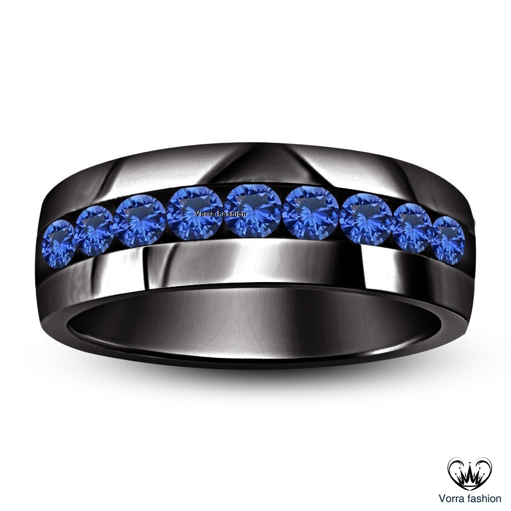 1 CTTW BLUE SAPPHIRE .925 SILVER WEDDING & ANNIVERSARY MEN'S BAND RING SZ 8 9 10