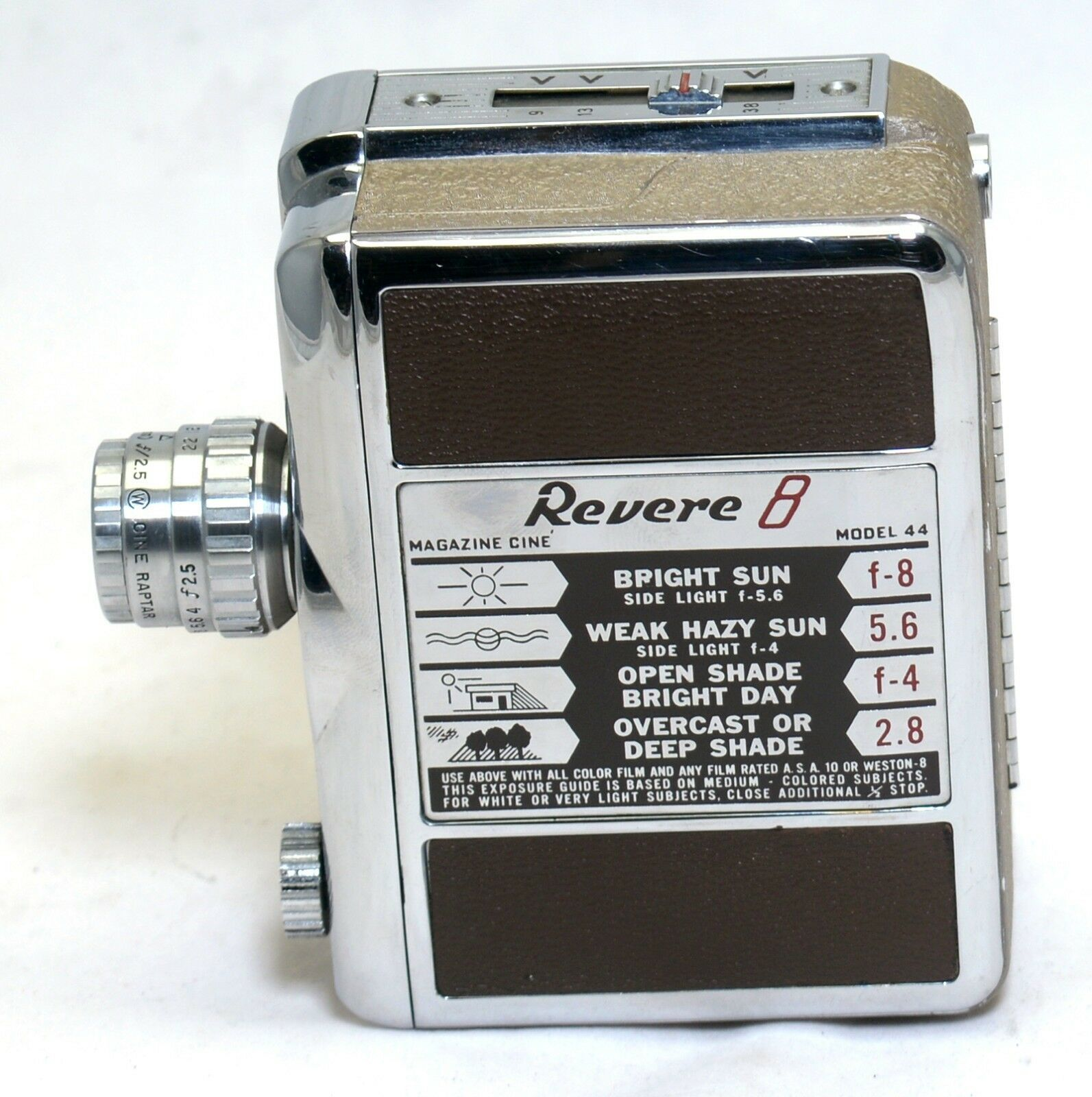 REVERE 8 Model 44 Vintage Movie 8mm Film Magazine CINE Camera Wollensak Lens USA