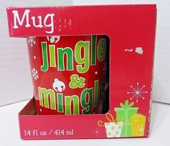 """Christmas Coffee Cup - """"Jingle & Mingle"""" - 14 Oz - Midwood Brands NIB - $9.50"""