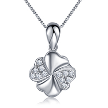 Flower Design Pendant With Chain 14k White Gold Plated 925 Silver Round Cut CZ - $45.25