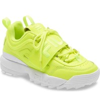 NIB*Fila Disruptor II Applique Sneaker*Safety Yellow White *Size 5-11 - $183.21 CAD