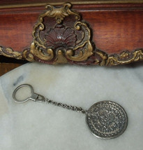 Vintage Sterling Silver Mayan Calendar Key Chain Holder and Fob   - $34.62
