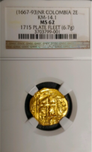 "COLOMBIA 1667 2 ESCUDOS ""1715 FLEET"" SHIPWRECK TREASURE NGC61 PIRATE GOL... - $4,950.00"
