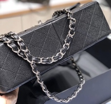 BRAND NEW AUTHENTIC CHANEL BLACK CAVIAR QUILTED JUMBO DOUBLE FLAP BAG SHW image 3