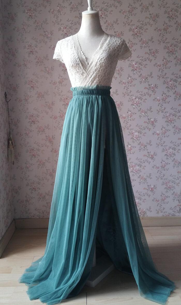 Slit tulle skirt 04 misty green
