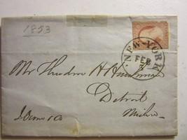 OLD COVER / LETTER FOLDED SCOTT #10 STAMP DETROIT, NEW YORK CANCEL 2/5/1853 - $99.95