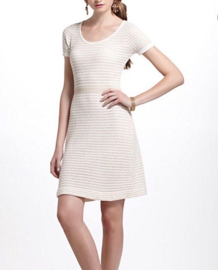 Anthropologie Sparrow Gilt Grid Sweater Dress M Medium Ivory Gold A Line