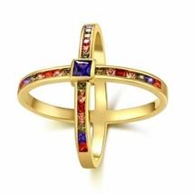 Rainbow Swarovski Criss-Cross Statement Ring in Gold - $45.60