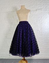 Elegant Purple Polka Dot  Midi Skirt High Waisted Tulle Midi Skirt Plus Size image 2
